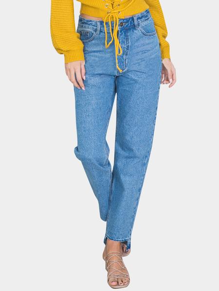 Yoins Blue Classic Five Pockets Asymmetrical Hem Casual Denim Jeans