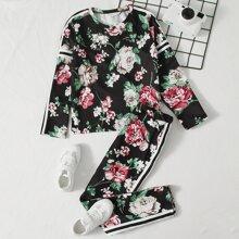 Conjunto top floral con cinta de rayas con leggings