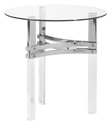 BM210862 Round Glass Top End Table with Straight Acrylic Legs  Clear and