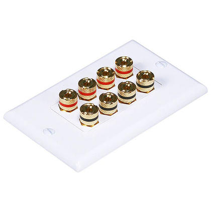 Banana Binding Post Two-Piece Inset Wall Plate for 4 Speakers - Coupler Type - Monoprice®