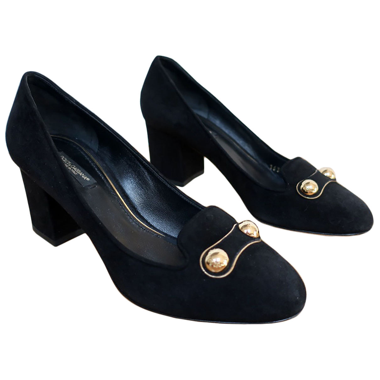 Dolce & Gabbana N Black Suede Heels for Women 38 EU