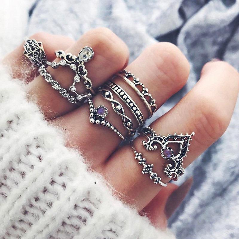 Ericdress Trendy Crown 10-Piece Ring for Women
