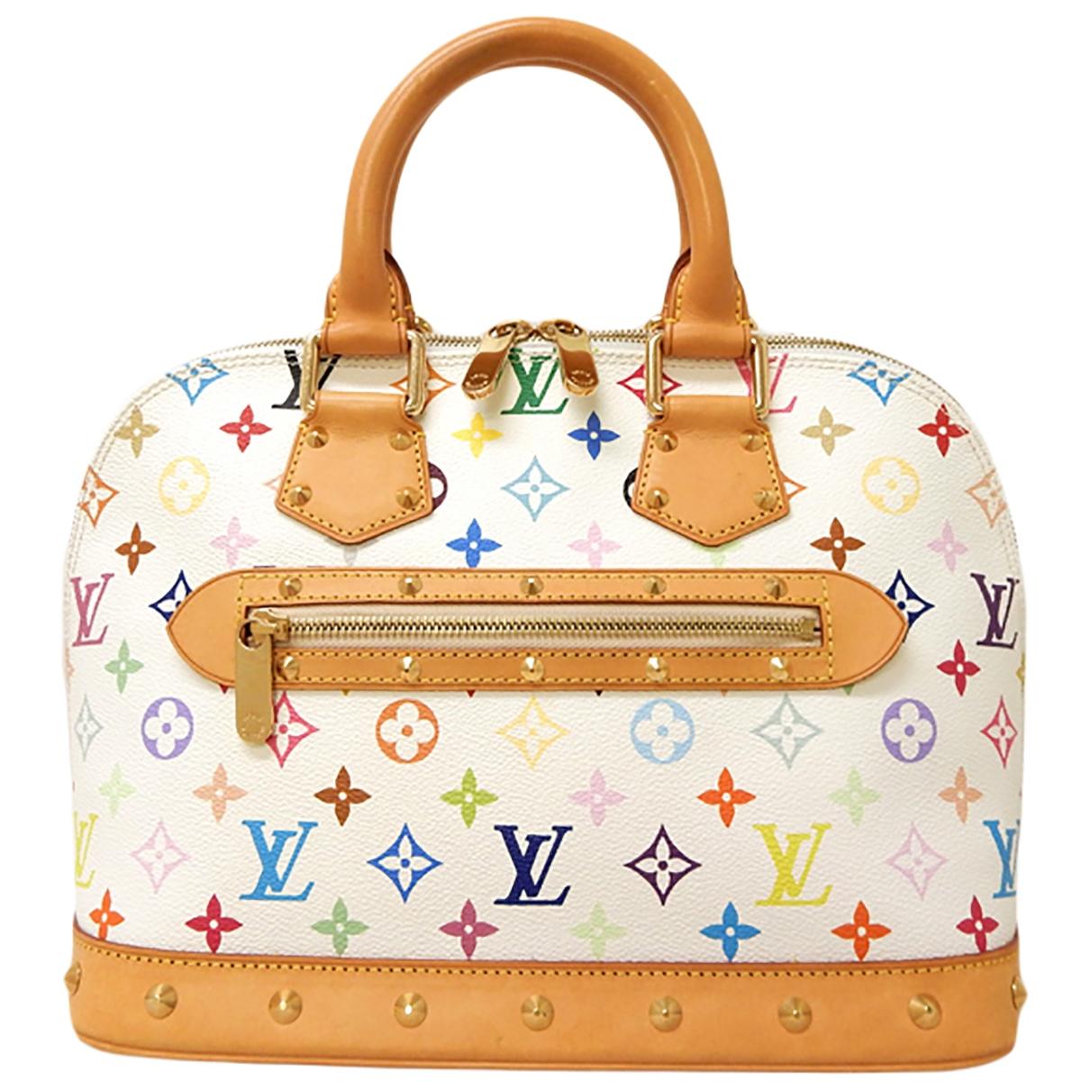 Louis Vuitton - Sac a main Alma pour femme en toile - blanc