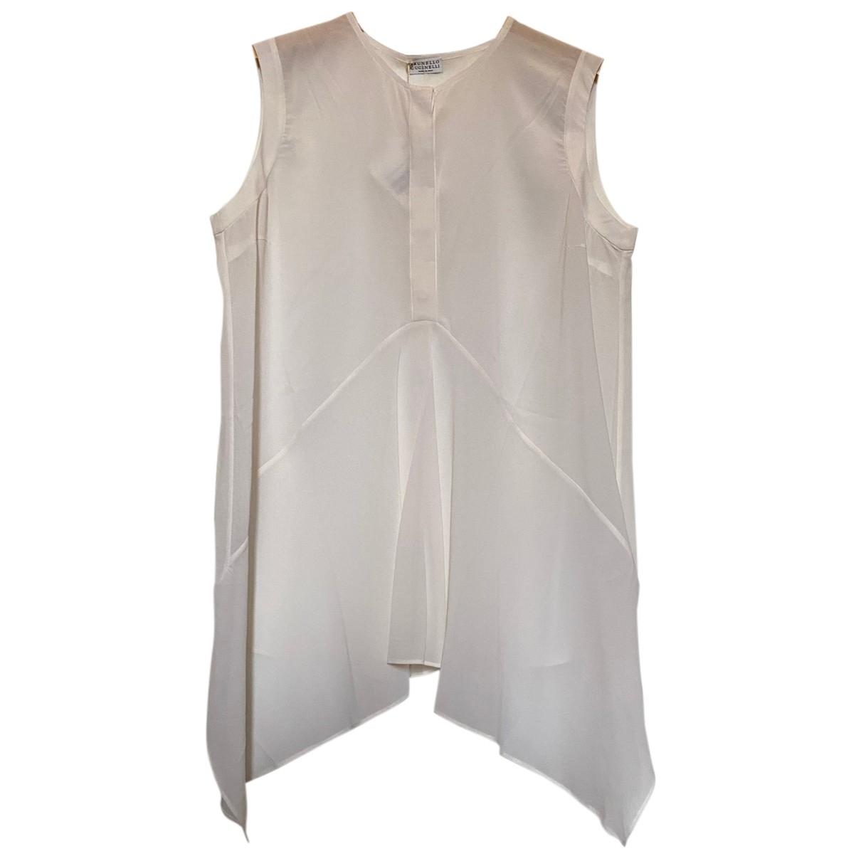 Brunello Cucinelli - Top   pour femme en soie - blanc