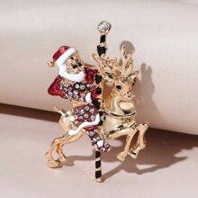 Christmas Santa Claus & Deer Design Brooch