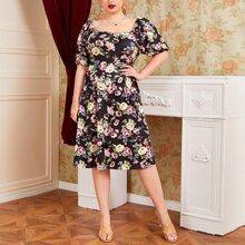 Plus Square Neck Allover Floral Dress