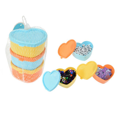 Small Heart Shape Multipurpose Container with Lid for Storing Candies, Small Trinkets, 3 Pieces