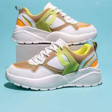 Colorblock Lace-up Front Chunky Sneakers