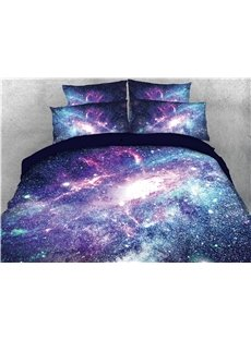 Blue And Purple Cosmic Galaxies Warm 3D Printed 5-Piece Comforter Sets