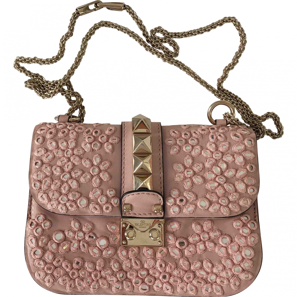 Valentino Garavani Glam Lock Pink Leather handbag for Women \N