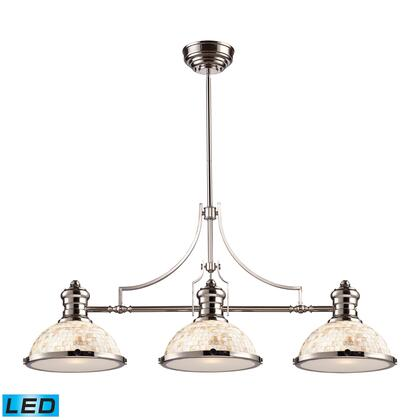 66415-3-LED Chadwick 3-Light Island Light in Polished Nickel with Cappa Shell -