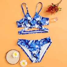 Bañador bikini de niñas cruzado de Tie Dye