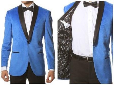 Mens 1 Button Velvet ~ Velour Tuxedo With Black Trim