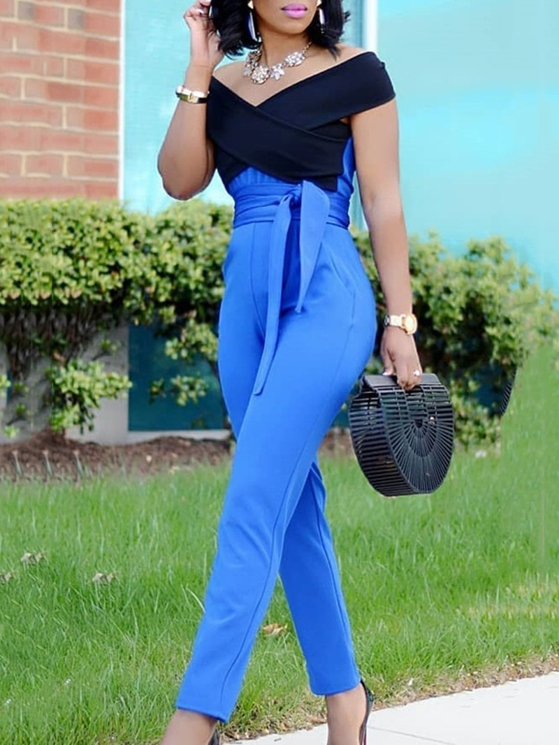 Ericdress Color Block Lace-Up Full Length Slim Jumpsuit