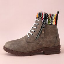 Contrast Knit Shaft Lace-up Ankle Boots