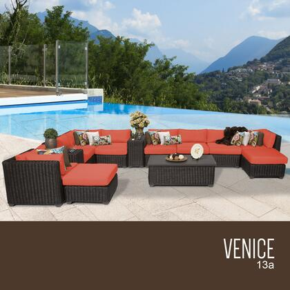 VENICE-13a-TANGERINE Venice 13 Piece Outdoor Wicker Patio Furniture Set 13a with 2 Covers: Wheat and