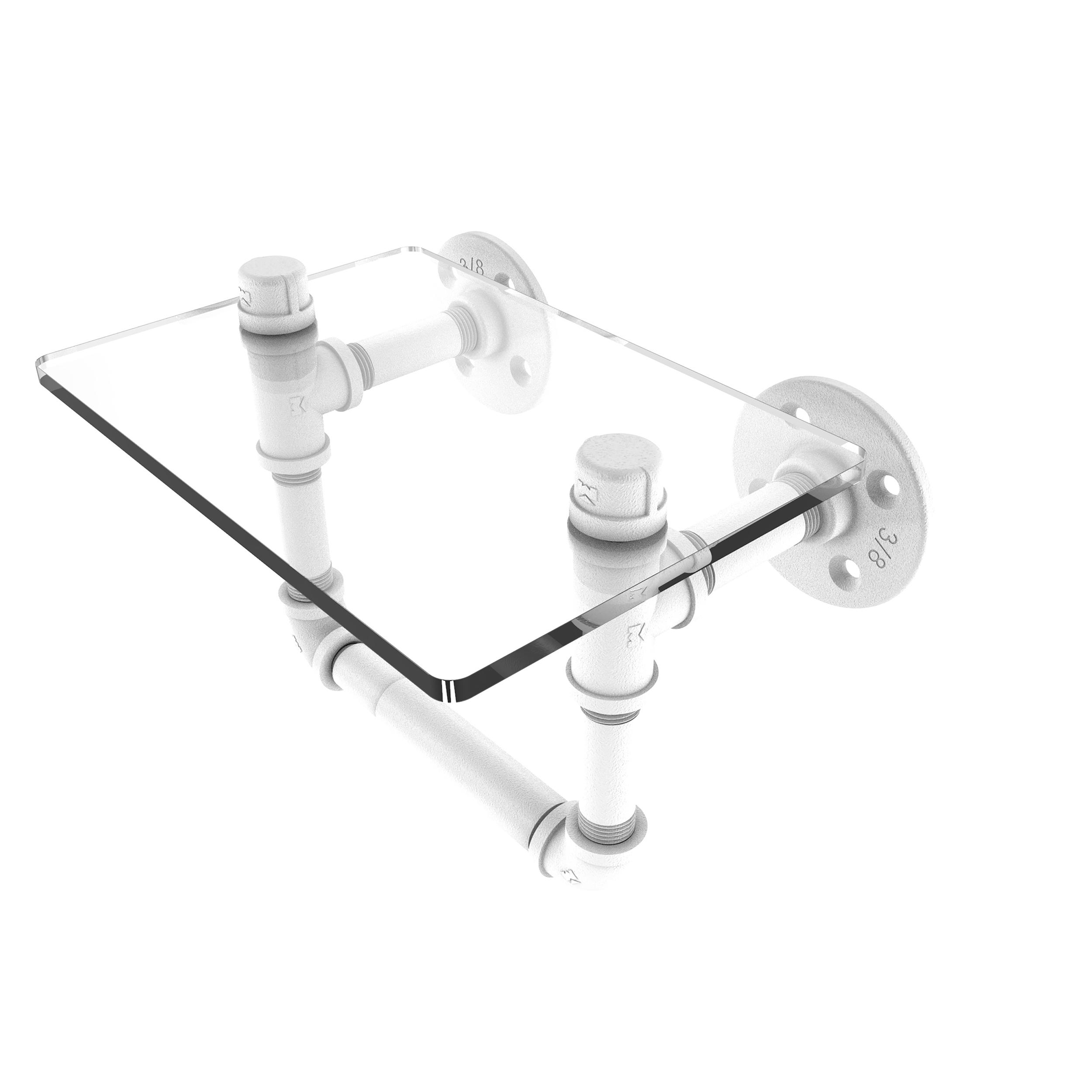Toilet Tissue Holder with Glass Shelf, Matt White Finish