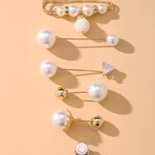 6 piezas broche de niñas con perla artificial