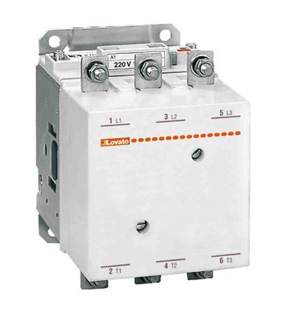 Lovato 3 Pole Contactor - 265 A, 24 V ac/dc Coil, 3NO, 140 kW
