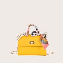 Bolsa cartera de niñas con pañuelo con cerradura girante