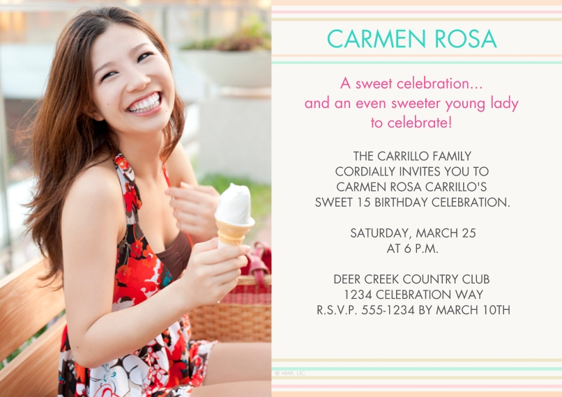 Quinceanera 5x7 Cards, Premium Cardstock 120lb with Elegant Corners, Card & Stationery -A Sweet Celebration Stripes