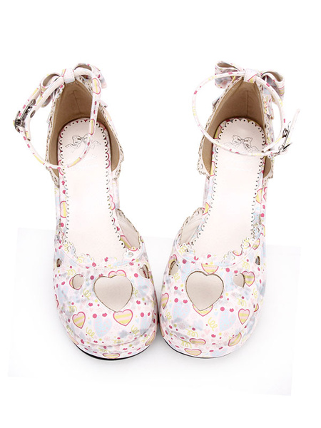 Milanoo Sweet Lolita Footwear Print Sweetheart Cut Out Bow Ankle Strap PU Pink Lolita Shoes