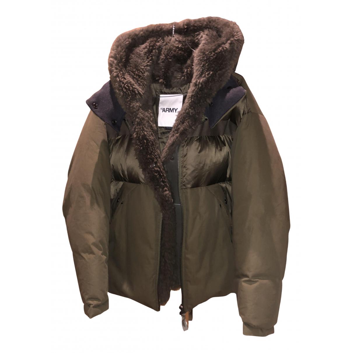 Yves Salomon N Khaki Mongolian Lamb coat for Women 32 FR