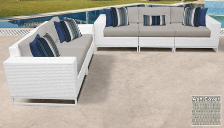 Miami Collection MIAMI-05h-ASH Miami 5-Piece Patio Set 05h with 1 Armless Chair   2 Left Arm Chair   2 Right Arm Chair - Sail White and Ash