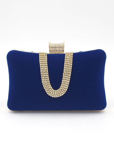Milanoo Clutch Bags Bridal Wedding Corduroy Rhinestones Beaded Party Evening Handbags
