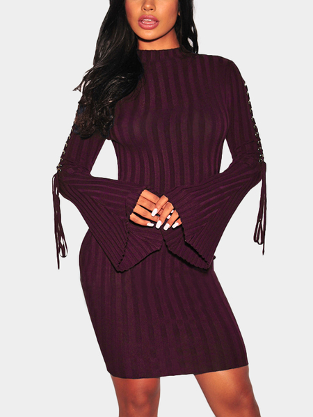 Yoins Burgundy Lace-up Bell Sleeves Round Neck Midi Dress