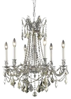 9206D23PW-GT/RC 9206 Rosalia Collection Hanging Fixture D23in H26in Lt: 6 Pewter Finish (Royal Cut Golden Teak