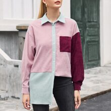 Collared Buttoned and Pocket Front Colorblock Cord Coat
