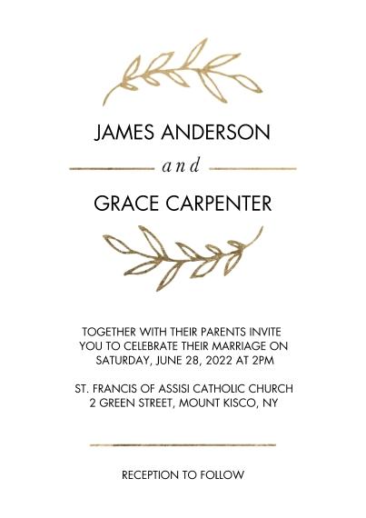 Wedding Invitations 5x7 Cards, Standard Cardstock 85lb, Card & Stationery -Wedding Invitation Gold Half Wreath by Tumbalina