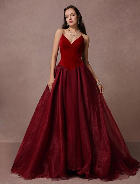 Milanoo Velvet Evening Dress Strapless A-line Organza Chaple Train Red Carpet Dress Backless Party Dress