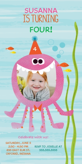 Kids Birthday Party Invites Flat Glossy Photo Paper Cards with Envelopes, 4x8, Card & Stationery -Sea Creature Birthday Smile