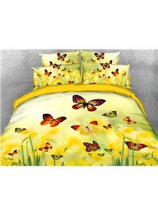 Pastoral Style Yellow Flowers and Colorful Butterflies Warm 3D Printed 5-Piece Comforter Sets