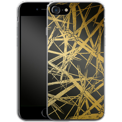 Apple iPhone 8 Silikon Handyhuelle - Strokes Gold Black von Khristian Howell