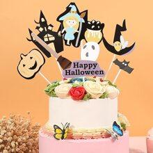 8 piezas decoracion de pastel con patron de Halloween
