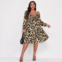 Mini Kleid mit Twist vorn und Muster