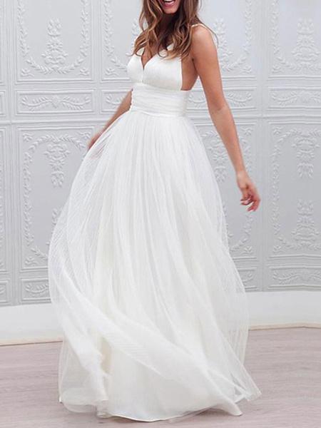 Milanoo Vestidos de novia simples 2020 Linea A Correas con cuello en V Vestido de novia de boda en la playa de tul sin respaldo