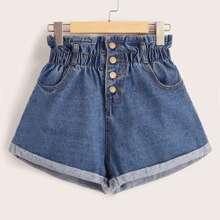Paperbag Rolled Hem Denim Shorts