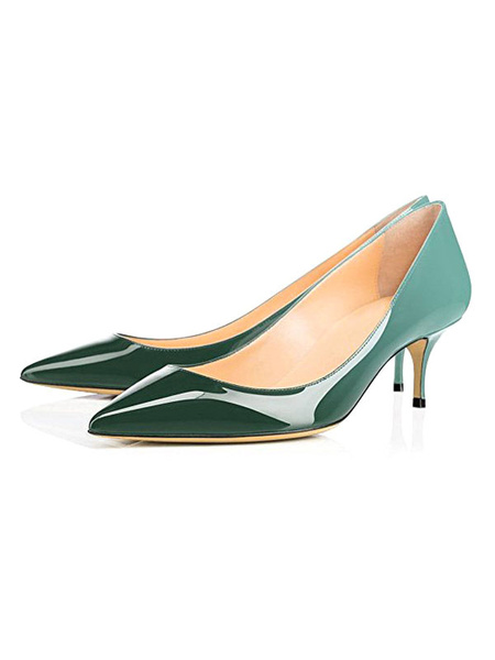 Milanoo Women\'s Pumps Pointed Toe Stiletto Heel Purple Mid Low Heels Ombre Color Block Women Shoes