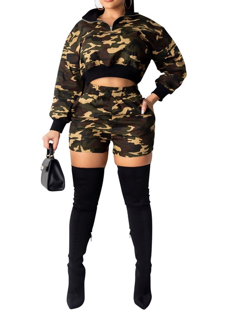 Ericdress Camouflage Print Casual Two Piece Sets