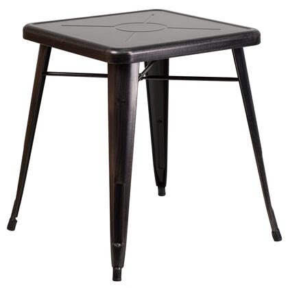 CH-31330-29-BQ-GG 27.75 Outdoor Table with 2 Thick Edge Top  Galvanized Steel Construction  Square Shape  Protective Rubber Floor Glides and Powder