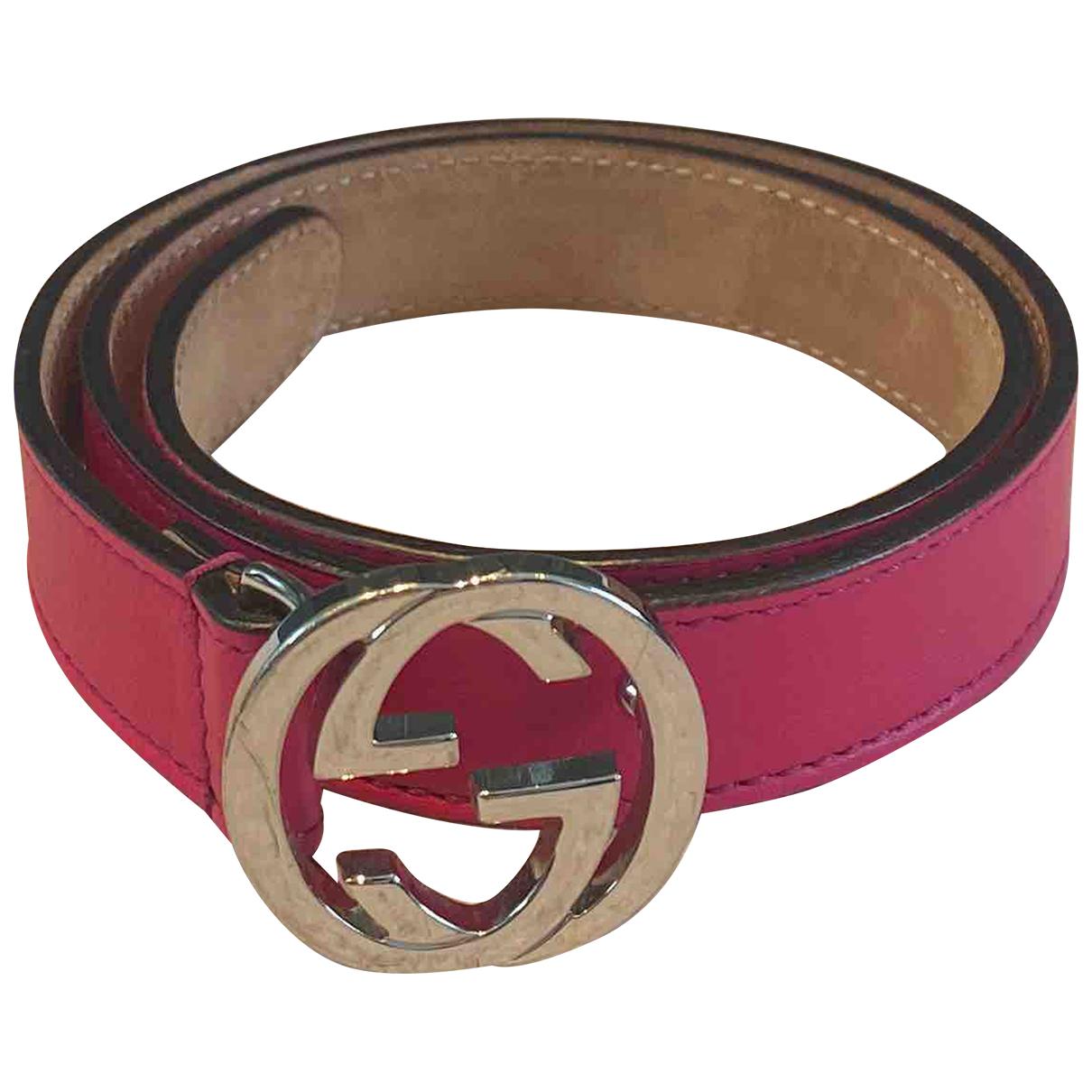 Gucci N Pink Leather belt.Suspenders for Kids N