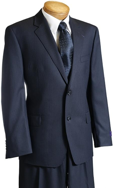 Mens Navy Pinstripe Wool Italian Design Suit