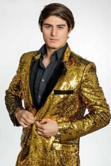 Men's Gold Sequins Velvet Lapel 2 Button Single Breasted Blazer