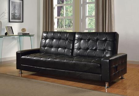 Naeva Collection 57091 82 Adjustable Sofa with Metal Legs  Track Arms  Tufted Cushions and Bycast PU Leather Upholstery in Black