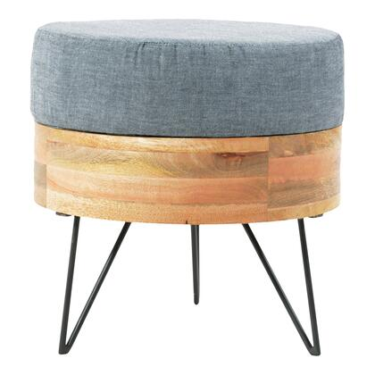 BZ-1025-24 Pouf with Linen Cotton Blend in Natural