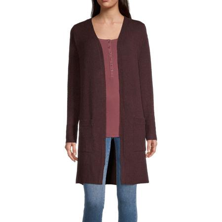 a.n.a Womens Long Sleeve Cardigan, Medium , Red
